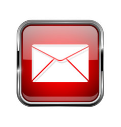 Mail or message icon square red 3d icon with vector