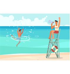 male lifeguard saving a drowner vector image