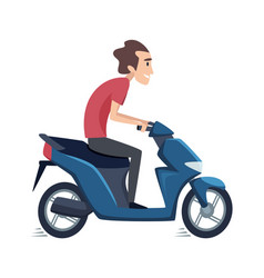 man ride on scooter male drives motorbike vector image