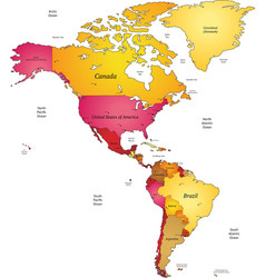 Map of Americas vector