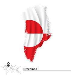 Map of Greenland with flag vector