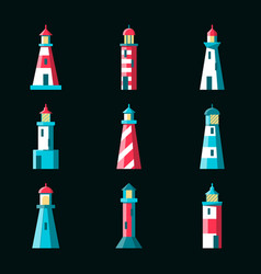 marine collection of lighthouse icons in flat vector image