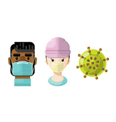 medical professionals and a virus icon set 3 vector image