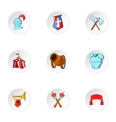 Military armor icons set cartoon style vector image