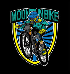 Mountain bike logo design vector