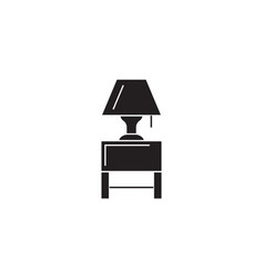 nightstand with a lamp black concept icon vector image