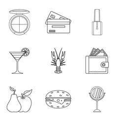 Noisy party icons set outline style vector