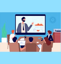 Online conference business meeting communication vector