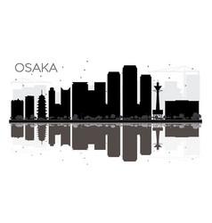 Osaka city skyline black and white silhouette vector