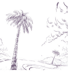 Palm tree on sandy beach shore and cloud vector