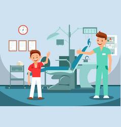 Pediatric dentistry teeth checkup vector