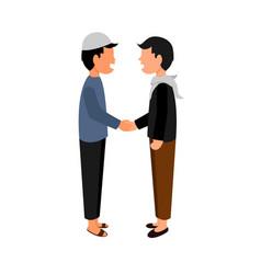 People hand shake friendship design vector