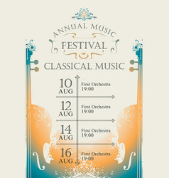 Poster for the annual festival of classical music vector