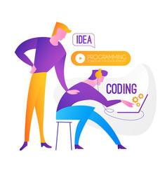 Programming coding programmer team at work vector