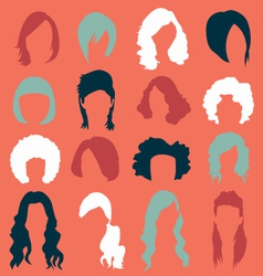 Retro Womans Hair Style Silhouettes vector