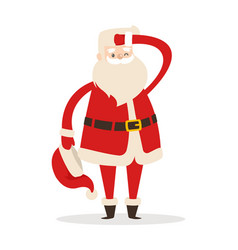 Santa claus without hat looking far away vector