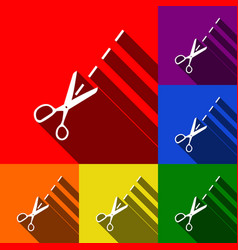 scissors sign set of icons vector image
