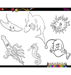 sea life cartoon coloring page vector image