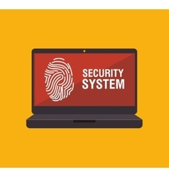 Security system fingerpprint laptop vector