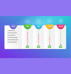 Servers report diagram and monitor icons set vector
