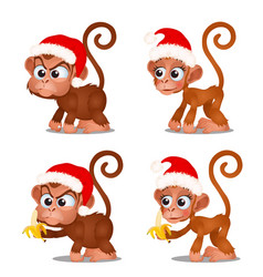 Set of cute monkey with red cap of santa claus vector