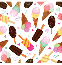 set of ice creams seamless pattern vector image