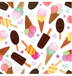 Set of ice creams seamless pattern vector