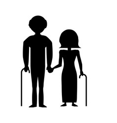 Silhouette couple grandparents with cane vector