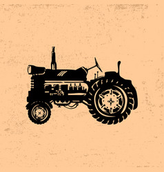 Silhouette of a vintage tractor vector