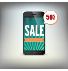 Smartphone with information about discounts on the vector image