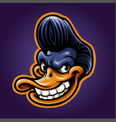 Smile duck head mascot esport logo vector