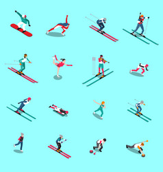 snowsports people isometric collection vector image
