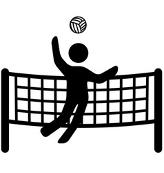 Stylized jumping volleyball player ready to spike vector