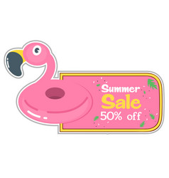 summer sale 50 off flamingo pool float background vector image
