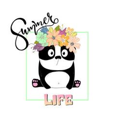 summer slogan print with cute panda vector image