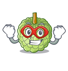Super hero character custard apple tropical fruit vector