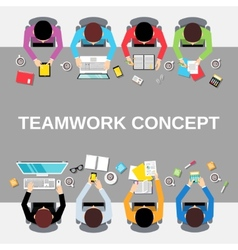 Teamwork people top view vector image