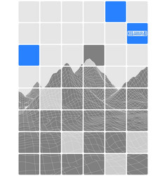 tiled abstraction black and white with blue vector image