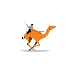 Traditional camel race in middle east sign vector