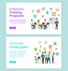 training programs and workteam achieving vector image