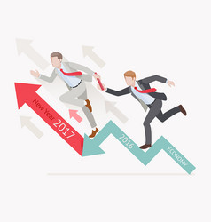 Two businessman running on red arrow vector