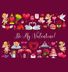 valentines day greetings cupid heart love signs vector image