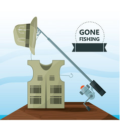 Vest hat and rod fishing equipment vector