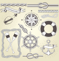 Vintage seafaring elements - steering wheel oars vector