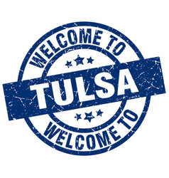 welcome to tulsa blue stamp vector image