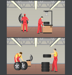 Workshop for tyres servicing vector