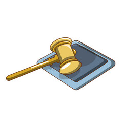 yellow hammer judge icon cartoon style vector image