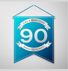 blue pennant with inscription ninety years vector image