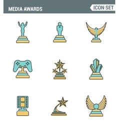 Icons line set premium quality of media awards vector image vector image