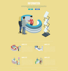 information and help desk isometric poster vector image